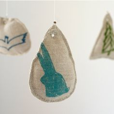 Mobile, for sale by Linea Carta. Made from linen and hand printed.