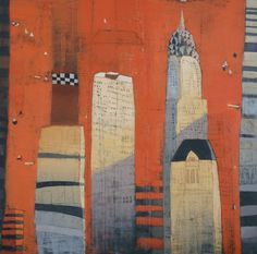 Paul Balmer Cityscape Red   64x64 Oil on canvas