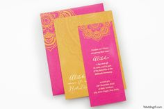 Mustard and Pink Handmade Indian Wedding Invitation. $5.49, via Etsy.