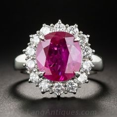 4.48 Carat Burma Ruby, Platinum and Diamond Ring