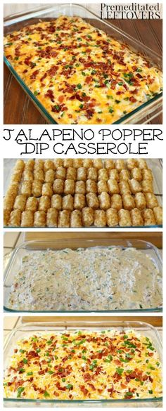 This easy Jalapeno Popper Dip Casserole recipe works as a hearty appetizer or unique side dish. This easy Jalapeno Popper Dip Casserole recipe works as a hearty appetizer or unique side dish. I Love Food, Good Food, Yummy Food, Jalapeno Popper Casserole Recipe, Jalapeno Popper Dip, Tatertot Casserole Recipe, Grilled Jalapeno Poppers, Stuffed Pepper Casserole, Food Words