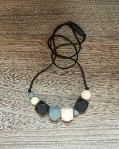 Twist on Basics - Geometric Bead Silicone Teething Necklace in Black, – Sugarplum Collection  Teething Necklace, Silicone Bead Necklace, Nursing Jewelry
