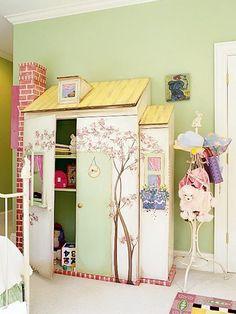 little girls dollhouse closet