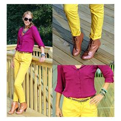 Fuchsia top and yellow pants outfit