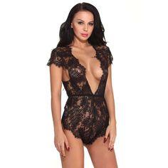 Wensltd Sexy Lingerie Lace Babydoll Mini Bodysuit One Piece Teddy S Black    Be sure to 6b03d3724