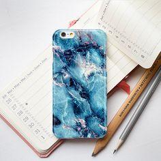 Blue Gold Marble iPhone 6 Case iPhone 5S Case by PinkPiggyStudio