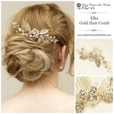 """Gold Bridal Hair Vine Comb """"Elke"""" by Hair Comes the Bride - """"This delicate, yet impressive hair comb is just what you might like if you are going for classic, sophisticated look; it makes enough of a statement without drawing attention to itself too much--it completes perfectly a chignon, up-do, or even, half-up (or on the side) hair styles. Highly recommend!"""""""