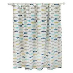 Fish Shower Curtain Calm Gray - Pillowfort™ kid bathroom