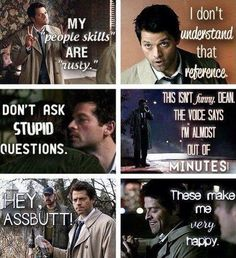 "My new favorite TV character - The angel Castiel from Supernatural. "" this isn't funny Dean the voice says I'm almost out of minutes"" Sam Winchester, Winchester Brothers, Winchester Supernatural, Misha Collins, Sam Dean, Jared Padalecki, Jensen Ackles, Fandoms, Emmanuelle Vaugier"