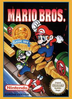 Mario Bros. european box art (NES, 1986).