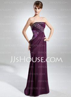 Sheath Strapless Floor-Length Chiffon Charmeuse Evening Dress With Ruffle Beading (017025911) - JJsHouse