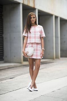 Plaid separates feel a little less prim and proper with a studded clutch in hand. Sydney Fashion Week #StreetStyle                                                                                               17 / 51