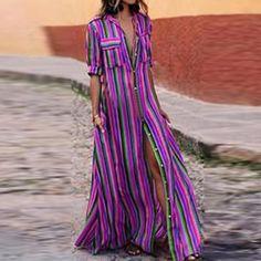 Boho Striped Button Down Maxi Dress eotita clothes boho maxi dresses Boho Striped Button Down Maxi Dress eotita Shrug For Dresses, Floral Playsuit, Fashion Corner, Summer Work Outfits, Summer Shoes, Striped Maxi Dresses, Maxi Skirts, Looks Cool, Ladies Dress Design