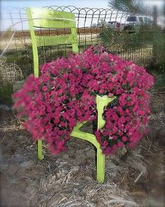 an old chair get a new life, container gardening, gardening, repurposing upcycling, This lime green chair has been in my yard for quite sometime as a planter