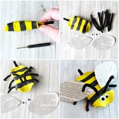 This awesome recycled bee craft is a cute insect craft, Earth Day Craft, fun spring kids craft, cool recycled kids craft and cardboard roll craft for kids. Bee Crafts For Kids, Recycled Crafts Kids, Recycled Art Projects, Spring Crafts For Kids, Projects For Kids, Art For Kids, Arts And Crafts, Children Crafts, Zoo Activities Preschool