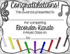 FREEBIE! This is the free version of my Recorder Karate / Recorder Dojo Certificates. That product includes an editable PPT so you can type in names and the date. It also includes a certificate for when a student passes each belt.  INCLUDED IN THIS PRODUCT: *Certificate for end of recorder karate unit *Two styles *PDF file for easy printing--just print, write name of your student, date, & your name