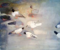 "Mark Mulhern, SMALL PIGEONS, Oil on Linen, 28 x 34"" Tory Folliard Gallery"