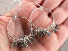 Labradorite earrings, chandelier earrings -by BirdandBeed Labradorite Jewelry, Gemstone Earrings, Sterling Silver Hoops, Chandelier Earrings, Designer Earrings, Jewelry Ideas, Dangles, Group, Gemstones