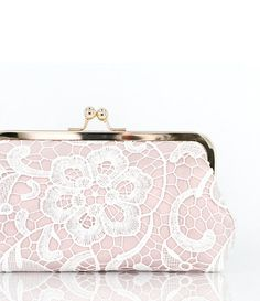 Bridal Blush Pink and White Lace Clutch 8-inch L'HERITAGE
