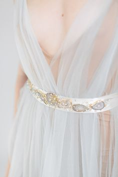 Geode Linear Sash, scattered crystals  Perfectly earthy and totally different bridal sash bridal belt accesories