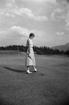 August 1954, Bergenstock, Audrey Hepburn during a golf match.
