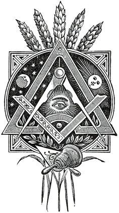 freemason all seeing eye, esoterica, wheat Masonic Art, Masonic Symbols, Masonic Order, Symbole Triangle, Masonic Tattoos, Freemason Tattoo, Art Tumblr, Eastern Star, Pattern Tattoos