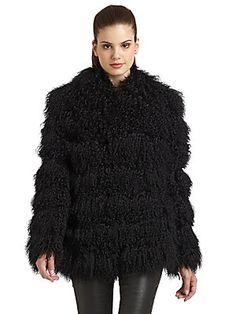 Blue Duck Striped Rabbit Fur Short Coat