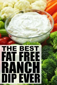 Whether you're throwing a summer BBQ for your entire neighborhood, or just need a creative way to get your kids to eat more vegetables, this DELICIOUS fat free ranch dip recipe will keep everyone coming back for seconds! Fat Free Recipes, Healthy Recipes, Healthy Diet Plans, Diet Recipes, Healthy Foods, Top Recipes, Healthy Options, Turkey Recipes, Salads