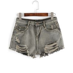 SheIn(sheinside) Grey Ripped Fringe Denim Shorts ($16) ❤ liked on Polyvore featuring shorts, grey, summer shorts, torn shorts, short jean shorts, denim shorts and destroyed denim shorts