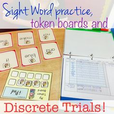 Using Dolch sight words and discrete trial sheets to assess sight word knowledge while using a token board to keep behavior under control! Token system economy sight word flash cards and these data sheets work together!