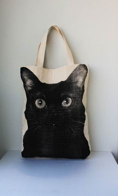 Black cat Canvas tote bag - cat tote bag Diaper bag Shopping bag Document bag Market Bag.. via Etsy.