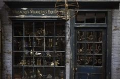 """A storefront is seen in """"Diagon Alley"""" during a media viewing tour of the set of the Harry Potter films at the Warner Bros. Studio Tour in L..."""