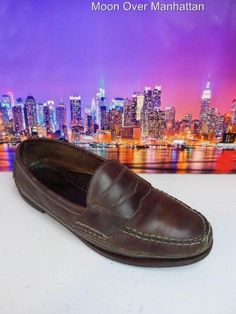 Mens shoes HEARTLAND brown leather driver moccasin Casual Penny Loafer sz M Penny Loafers, Loafers Men, Gents Shoes, Driving Moccasins, Heartland, Brown Leather, Oxford Shoes, Dress Shoes, Comfy