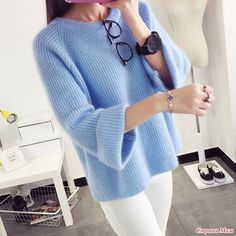 Blue dress, blue knitwear, knitted, white trousers, white and blue look, personal style