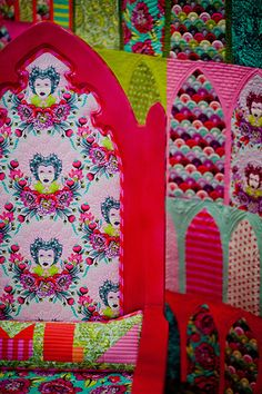 Sewing and quilting inspiration from Tula Pink's Elizabeth collection as seen in her booth at the 2014 Fall Quilt Market