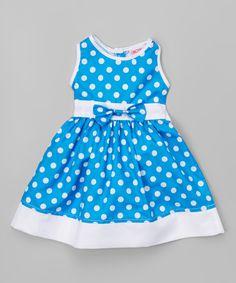 Love this Royal Wear Blue Polka Dot Sleeveless Dress - Infant & Kids by Royal Wear on #zulily! #zulilyfinds