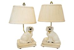 "Staffordshire Dogs Lamps, Pair, on OneKingsLane.com | As described by fabulous mess:  Pair of table lamps that feature Staffordshire dogs sitting on pillows. Pleated shades, harps, and finials are included | 9""w x 7""d x 22""h each 