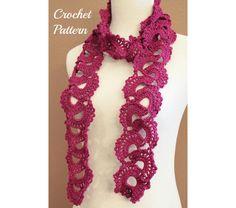 Crochet PATTERN PDF Queen Anne's Lace Scarf Pattern, Crochet Scarf Pattern, Lace Scarf Pattern, $5.0