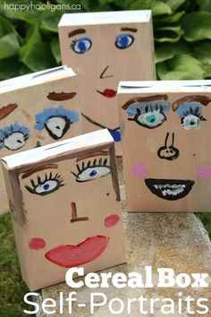 Cereal Box Self-Portrait Art for Kids Cereal Box Self-Portraits – Happy Hooligans Easy Art Projects, Projects For Kids, Crafts For Kids, Self Portrait Art, Preschool Art, Recycled Art, Simple Art, Summer Art, Art Plastique