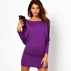 fe6477b2783f Elegant Purple Long sleeve women s Dress Party Dresses