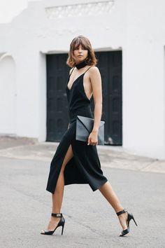 Slip Evening Dress all black classic minimal street style