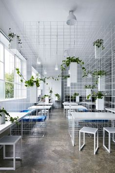 thank you thefarmcom for this photo of plant partitioning! decoration-entrep … offers you # a # green-design and # personalized layout for … - Metarnews Sites Office Interior Design, Interior Exterior, Office Interiors, Interior Architecture, Building Architecture, Architecture Student, Interior Decorating, Ppt Design, Cafe Design