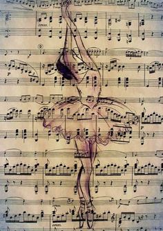 Print Art Ink Drawing Ballet Sketch Silhouette Painting Illustration Gift Ballerina Vintage Autographed Emanuel M. Sheet Music Art, Dance Art, Dancers Art, Newspaper Art, Ballet Painting, Ballet Art, Book Page Art, Music Drawings, Musical Art