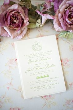 Rustic Green Wedding Invitations, Deer Antlers | by René Tate Photography
