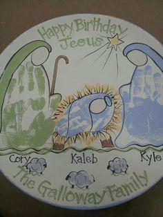 Happy Birthday Jesus handprint plate
