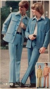 Leisure Suits - synthetic material, kind of shiny, came in a variety of pastel colors.  I remember my husband had a pale blue and light green.  Didn't like them then, even more now!