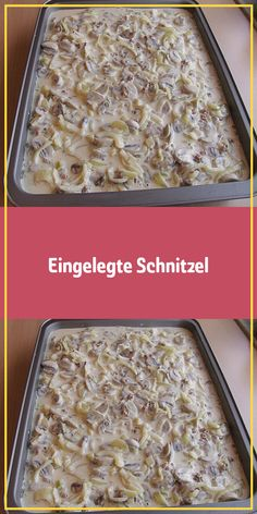 Pickled schnitzel - Ingredients 6 small pork schnitzel, each approx. 150 g 3 onion (s) 250 g beef 250 ml vegetable brot - Meat Recipes, Crockpot Recipes, Easy Desserts, Dessert Recipes, Pork Schnitzel, Pizza Snacks, Easy Casserole Recipes, Finger Foods, Food And Drink