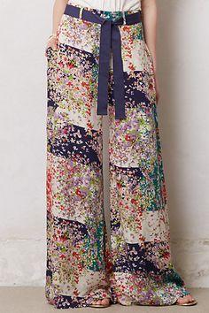 Wide leg rayon pants with a grosgrain ribbon belt