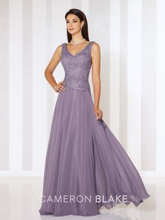 Cameron Blake - 116654 - Sleeveless chiffon A-line gown with front and back V-necklines, ribbon work bodice with slight dropped waist, flyaway skirt. Matching shawl included.Sizes: 4 – 20Colors: Heather, Rose, Eggplant, Navy Blue, Persian Blue