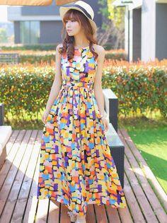 Bohemia Style Halter Long Dress Summer Women Fashion Colorful Geometric Off Shoulder Ankle-length Dresses